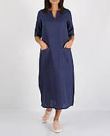 Синє лляне плаття з кишенями і розрізами з боків