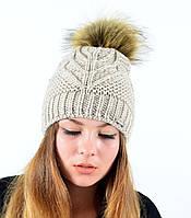 "Женская шапка с помпоном ""Мэри"" лен, фото 1"