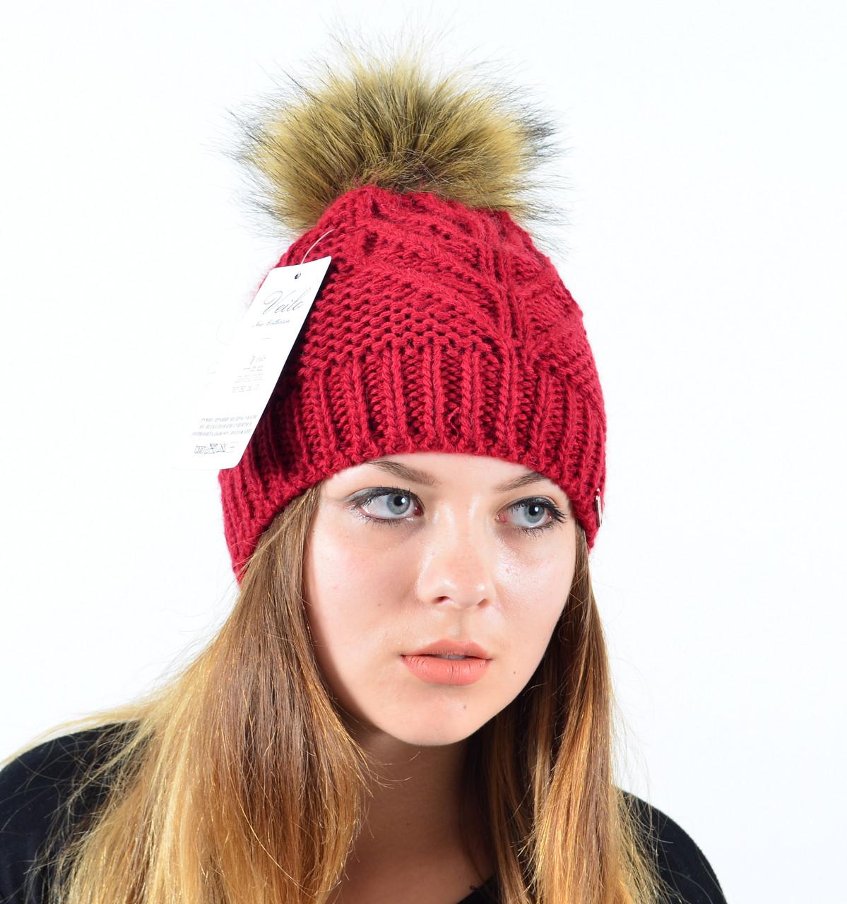"""Женская шапка с помпоном """"Мэри"""" красный"""