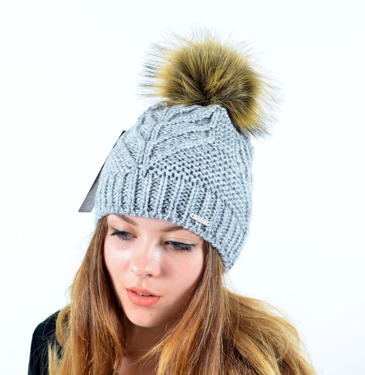 """Женская шапка с помпоном """"Мэри"""" серый"""