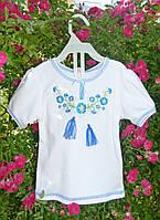 """Вышиванка для девочки """"Голубые фиалки"""" с коротким рукавом на рост 80-140 см (трикотаж)"""