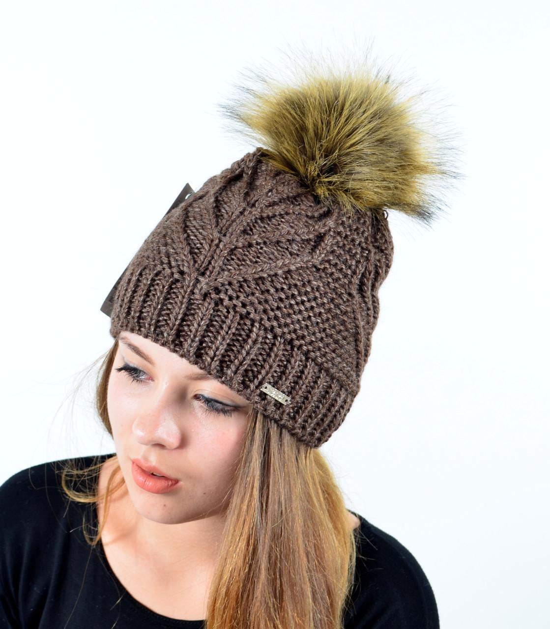 """Женская шапка с помпоном """"Мэри"""" коричневый, фото 1"""