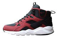 Зимние кроссовки Nike Huarache High Black Red, фото 1