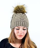 """Женская шапка с помпоном """"Мэри"""" беж, фото 1"""
