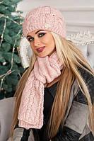 Зимний женский комплект «Камелия» (шапка и шарф) Пудра
