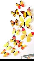 Виниловая наклейка бабочки 3D  желтые 12 шт