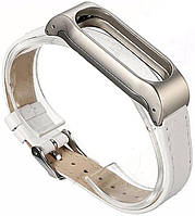 ArmorStandart Ремешок для спортивного браслета ArmorStandart Metal Lichee Leather Band for Xiaomi Mi Band 2 Silver