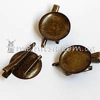 Основа для броши круглая+зажим, 3 см, античная бронза