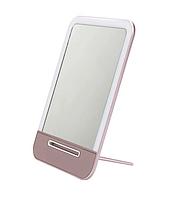 Зеркальце для макияжа с LED подсветкой. Розовый цвет