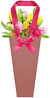 Бумажная сумка для букетов и горшечных цветов коричневая