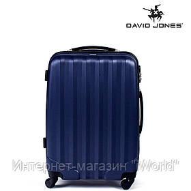 Дорожный чемодан из полипропилена на 4-х колесах (средний) David Jones синего цвета