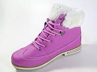 Ботинки женские зимние розового цвета на шнуровке