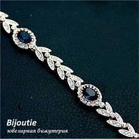 Браслет СИЕСТА BLUE ювелирная бижутерия золото 18к  декор кристаллы Swarovski
