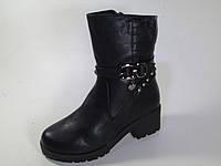 Ботинки женские зимние черного цвета на змейке
