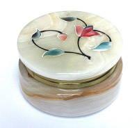 Шкатулка оникс Fancy круглая ободок крышки латунь
