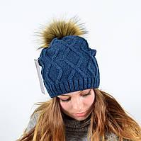 """Женская шапка с помпоном """"5515"""" джинс, фото 1"""