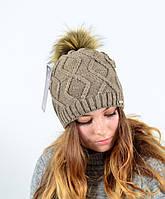 """Женская шапка с помпоном """"5515"""" беж, фото 1"""