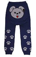 """Детские теплые гамаши (лосины, рейтузы) под памперс """"Веселые попки - Литл Собачка"""" для мальчика - цвет синий,"""