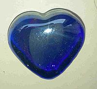 Декоративный стеклянный камень, Сердце синее