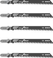 Пильное полотно Bosch T 111 C, для лобзика по дереву, HCS, 100x74 мм, рез 4-50 мм, шаг зубьев-3 мм, 5 шт, 2608630033