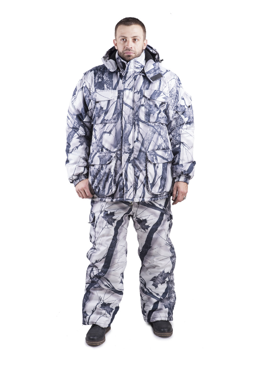 Зимний Костюм для рыбалки и охоты  камуфляж   зимний лес   ,алова