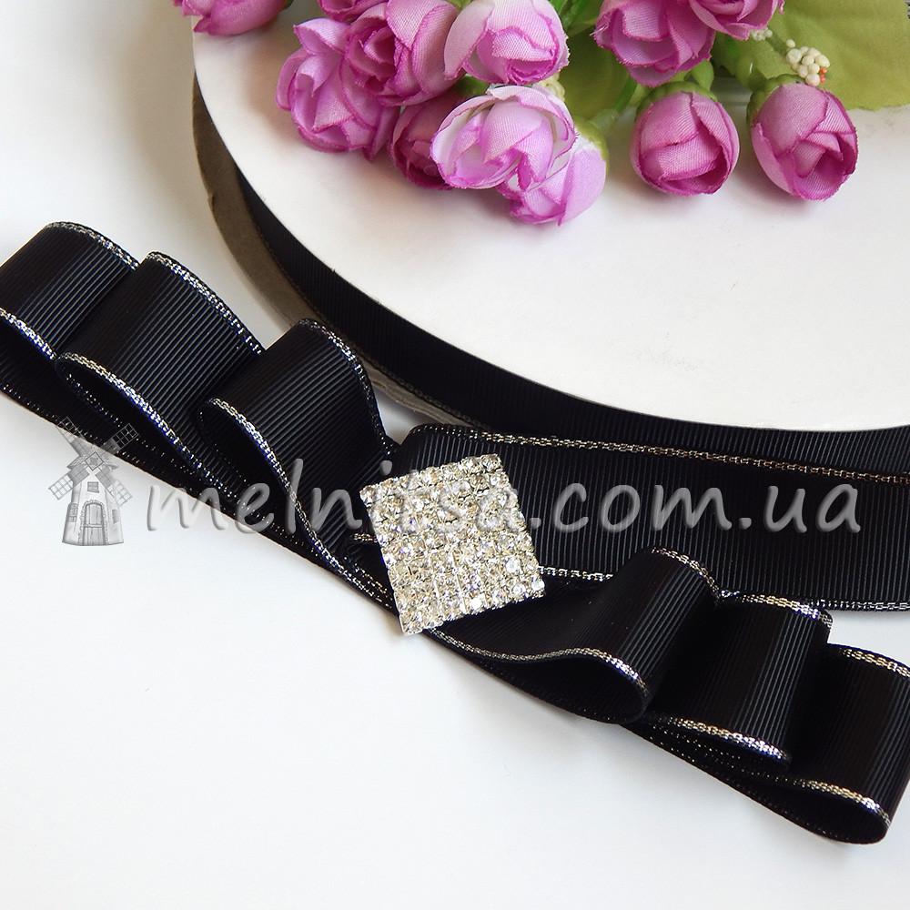 Лента репсовая с серебряным люрексом 25 мм, черная