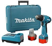 Аккумуляторный шуруповерт/дрель Makita 6261DWPE, БЗП, 0-400/0-1300 об/мин, 9,6 В, 24/14 Нм, 2 акк NiCd, 1,3 А/ч, з/у, чемодан, 1,4 кг