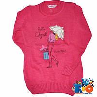 Детский свитер (зима), вязка, для девочки ростом 6-10 лет (3 ед в уп)