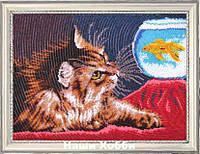 """Набор для вышивания бисером №604 """"Котенок и золотая рыбка"""""""