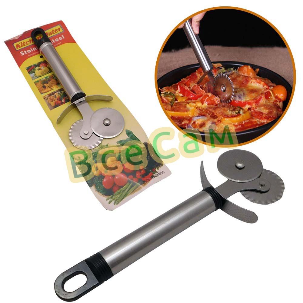 Универсальный нож для пиццы и теста с двойным роликом