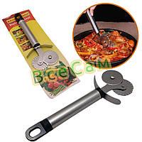 Универсальный нож для пиццы и теста с двойным роликом, фото 1