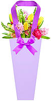 Бумажная сумка для букетов и горшечных цветов сиреневая