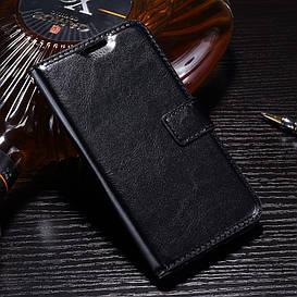 Чехол книжка для LG K10 2017 M250 боковой с отсеком для визиток и магнитной застежкой, Гладкая кожа, Черный
