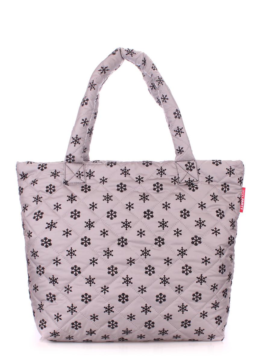 """Дутая сумка из ткани POOLPARTY с принтом """"снежинка"""""""