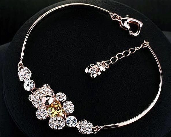 Браслет МИШКА ювелирная бижутерия золото 18К декор кристаллы Swarovski