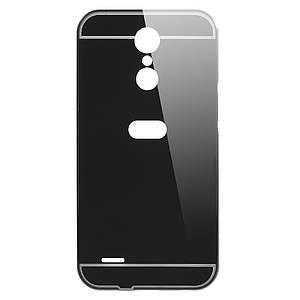 Чехол бампер для LG K10 2017 M250 металлический со съемной зеркальной крышкой, Черный