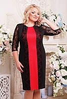 Женское коктельное прямое платье большого размера Пчела цвет черный+коралл размер 52-62