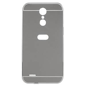 Чехол бампер для LG K10 2017 M250 металлический со съемной зеркальной крышкой, Серебристый