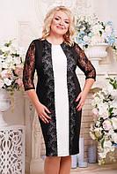 Женское коктельное прямое платье большого размера Пчела цвет черный+белый размер 52-62