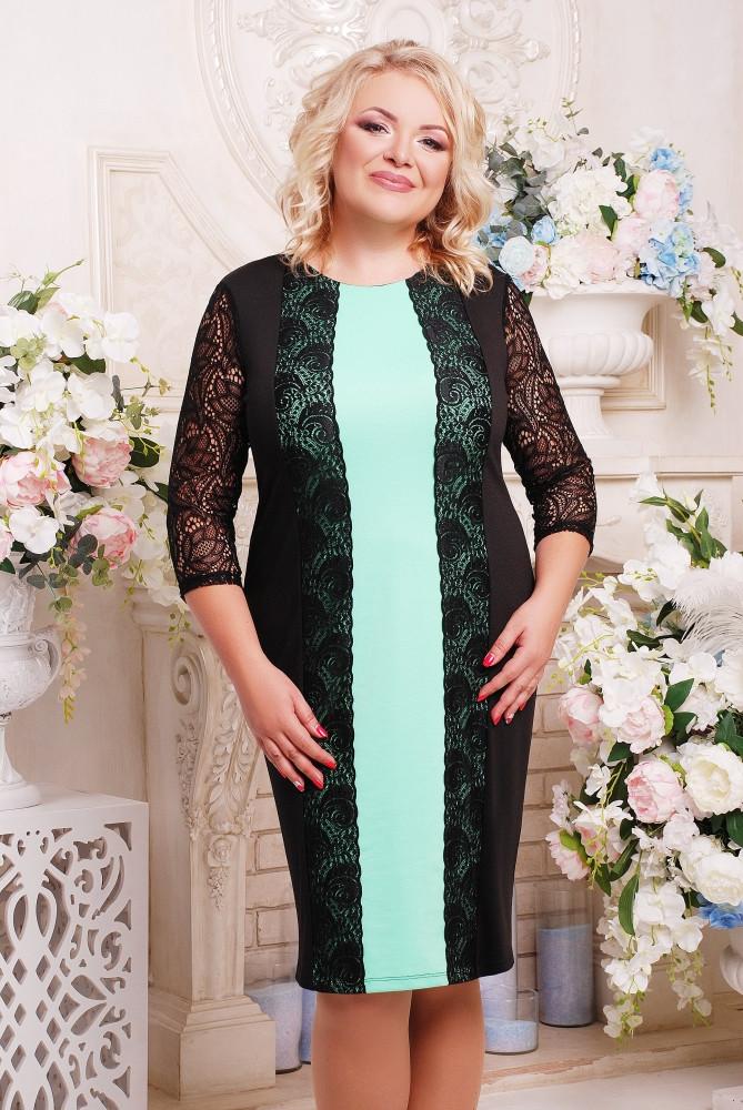 Женское коктельное прямое платье большого размера Пчела цвет черный+мята размер 52-62