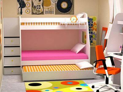 Ліжко-горище для трьох дітей