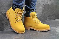 Чоловічі шкіряні зимові черевики Timberland рижі (3414)