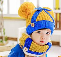 Шапочка и шарф снуд теплые осенние для девочки