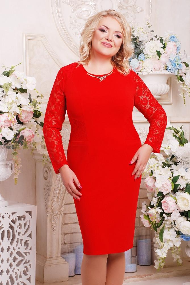 Женское платье с гипюром Тая цвет красный размер 52-60 / батальные размеры