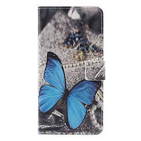 Чехол книжка для Huawei Y7 2017 боковой с отсеком для визиток, Голубая бабочка