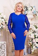 Женское платье с гипюром Тая цвет электрик размер 52-60 / батальные размеры