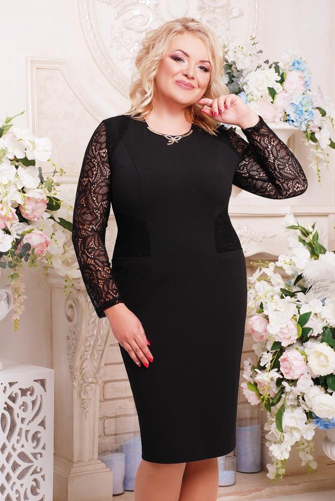 Женское платье с гипюром Тая цвет черный размер 52-60 / батальные размеры