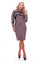 Теплое женское платье Клеопатра бордо, фото 1