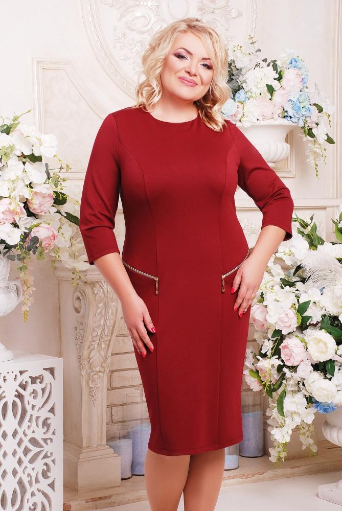 Женское платье на каждый день Ольга цвет вишня размер 52-62 / батальные размеры