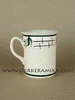 Чашка керамика оптом цилиндр офисная - художественная роспись лист